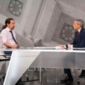 Pablo Iglesias en Antena 3 Noticias entrevistado por Vicente Vallés