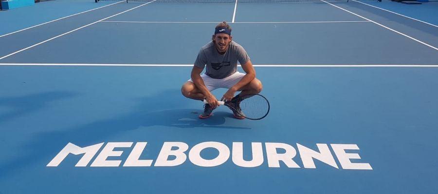 Mario Vilella, antes de iniciar su participación en el Open de Australia, en Melbourne.