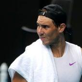 Rafa Nadal, entrenando para el Open de Australia