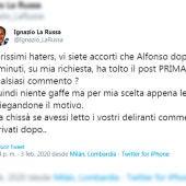 Tuit del vicepresidente del Senado de Italia, Ignazio La Russa