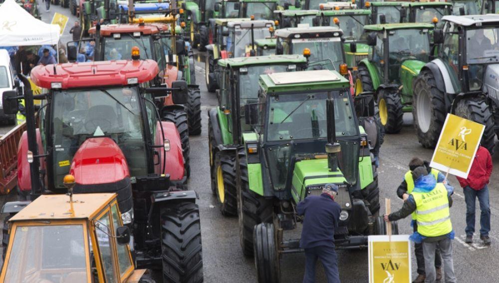 Tractorada organizada por los agricultores valencianos.