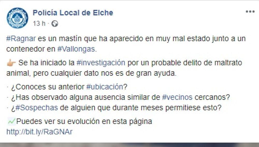 Mensaje en redes sociales de la Policía Local de Elche.