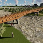 Vista virtual pasarela sobre el río Guadalhorce