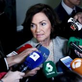 Carmen Calvo atiende a los medios