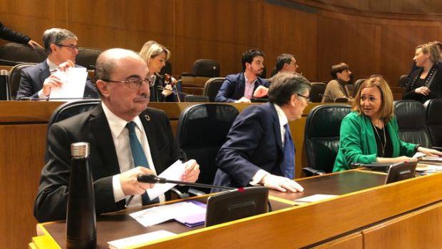 El presidente Lambán en la sesión de control al Gobierno