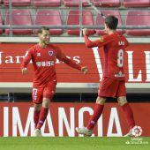 Iván Calero celebra un gol con el Numancia de Soria.