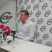 Carmelo Gómez, durante la rueda de prensa en Ciudad Real