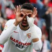 El delantero marroquí del Sevilla FC, Youssef En-Nesyri, celebra un gol ante Osasuna durante el partido de Liga