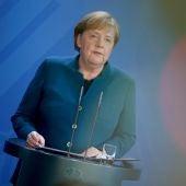 Ángela Merkel, durante una comparecencia