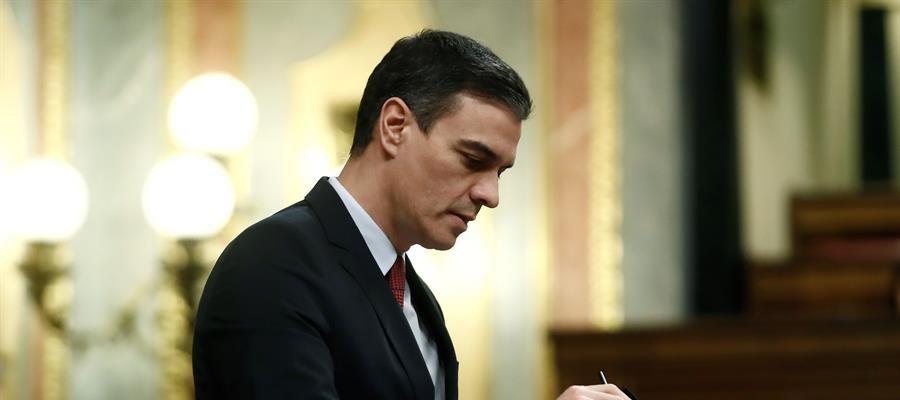Pedro Sánchez en su comparecencia en el Parlamento