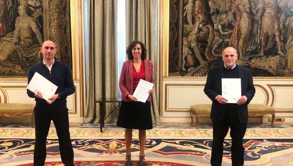 Luis Rubiales, Irene Lozano y Javier Tebas