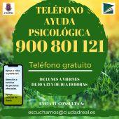 El miércoles entra en funcionamiento la línea de atención psicológica de Ciudad Real