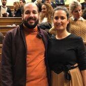 Miguel González Caballero en el Congreso, junto a la también diputada del PSOE, Cristina López