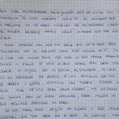 El manuscrito de la sanitaria malagueña enferma de Covid-19.