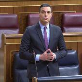 Pedro Sánchez en la sesión de control