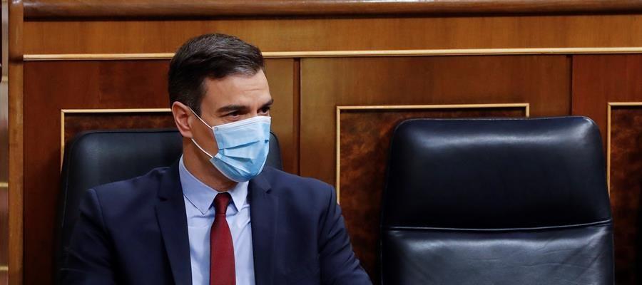 Pedro Sánchez en el Congreso durante el debate de la prórroga del estado de alarma
