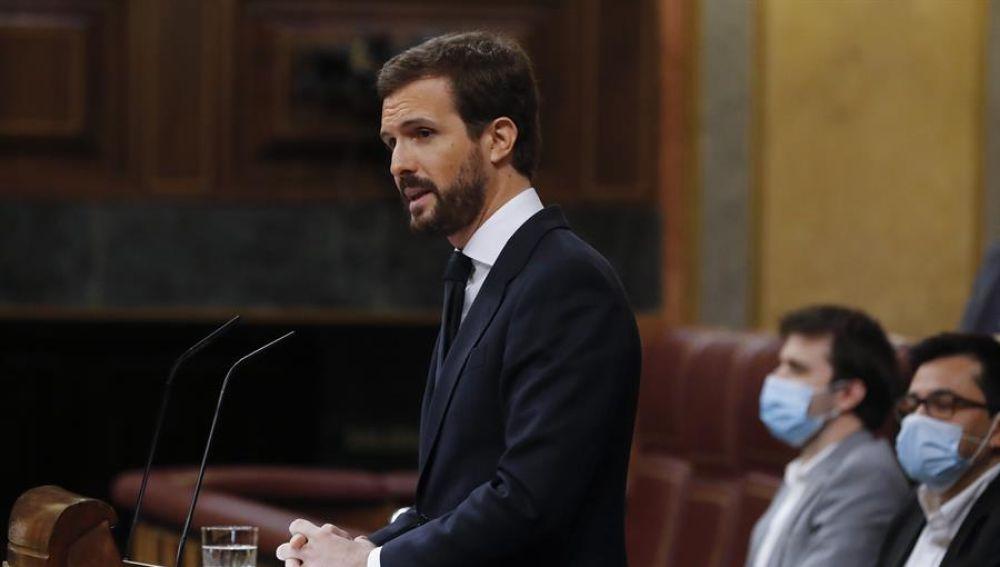 El líder del PP, Pablo Casado, en el Congreso