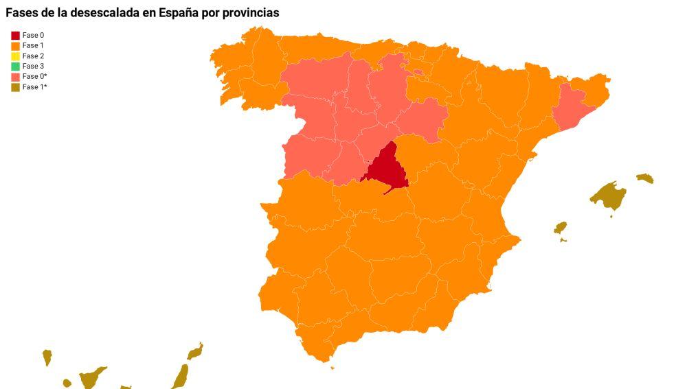 Fases de las desescalada en España por provincias