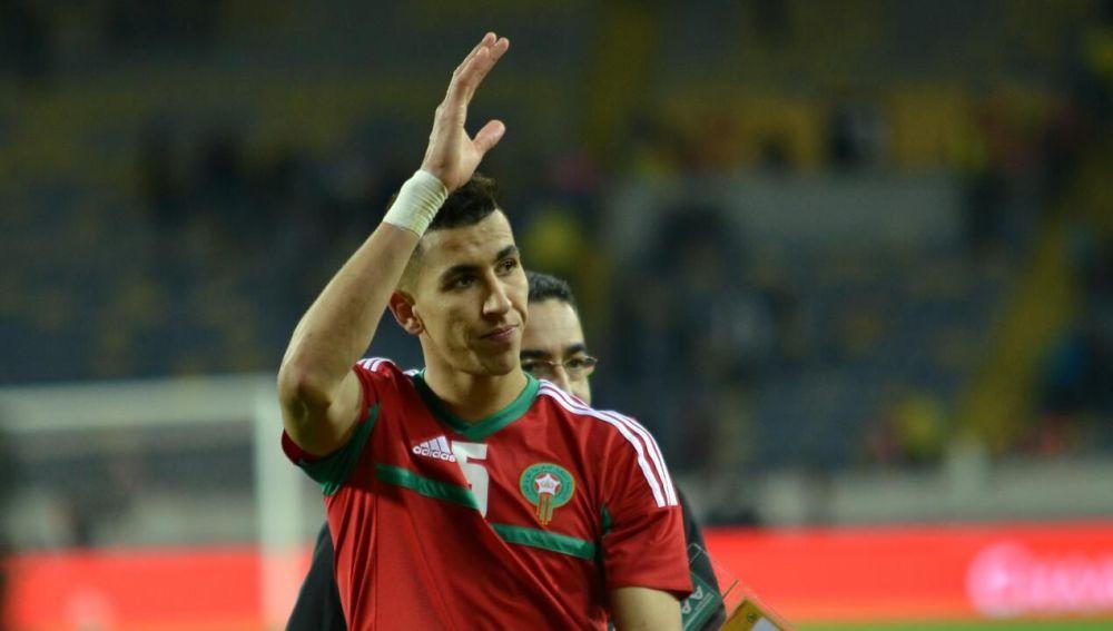 Jawad El Yamiq, con la camiseta de la selección marroquí.