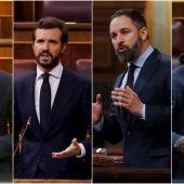 Pedro Sánchez, Pablo Casado, Santiago Abascal, Pablo Iglesias
