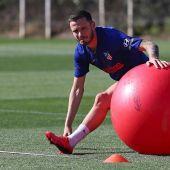 Saúl Ñíguez, en un entrenamiento con el Atlético