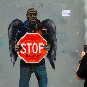 Grafiti de TVBOY en Barcelona en homenaje a George Floyd
