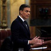 Pedro Sánchez, en la tribuna del Congreso de los Diputados.