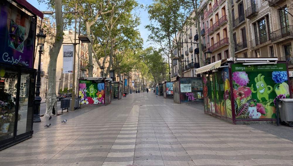 La Rambla de Barcelona, vacía