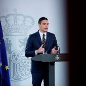 El presidente del Gobierno, Pedro Sánchez, durante su comparecencia