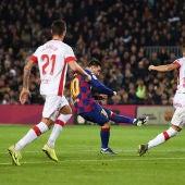 Leo Messi, en acción ante el Mallorca