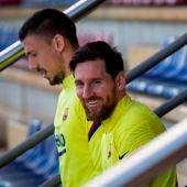 Messi en el entrenamiento del Barcelona