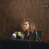 La jutgessa degana de Barcelona, Mercè Caso, en una roda de premsa