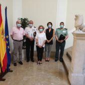 La Delegada del Gobierno en Baleares, Aina Calvo, junto a los principales representantes de las fuerzas y cuerpos de seguridad del Estado.
