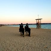 Agentes de la Policía Local de Palma vigilando la playa de Palma.