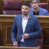 """Rufián acusa al Gobierno de """"vetar"""" la investigación en el Congreso al rey emérito y a Felipe González y los GAL"""