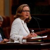 Nadia Calviño, vicepresidenta económica, en el pleno del Congreso