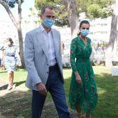 Los Reyes, Don Felipe y Doña Letizia, en el Hotel Iberostar Cristina de Playa de Palma, donde se han reunido con Govern y diferentes patronales, en su visita a Mallorca.