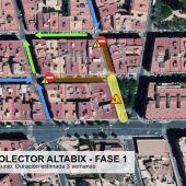 Plano de ubicación de las obras del colector de pluviales del barrio Altabix de Elche.