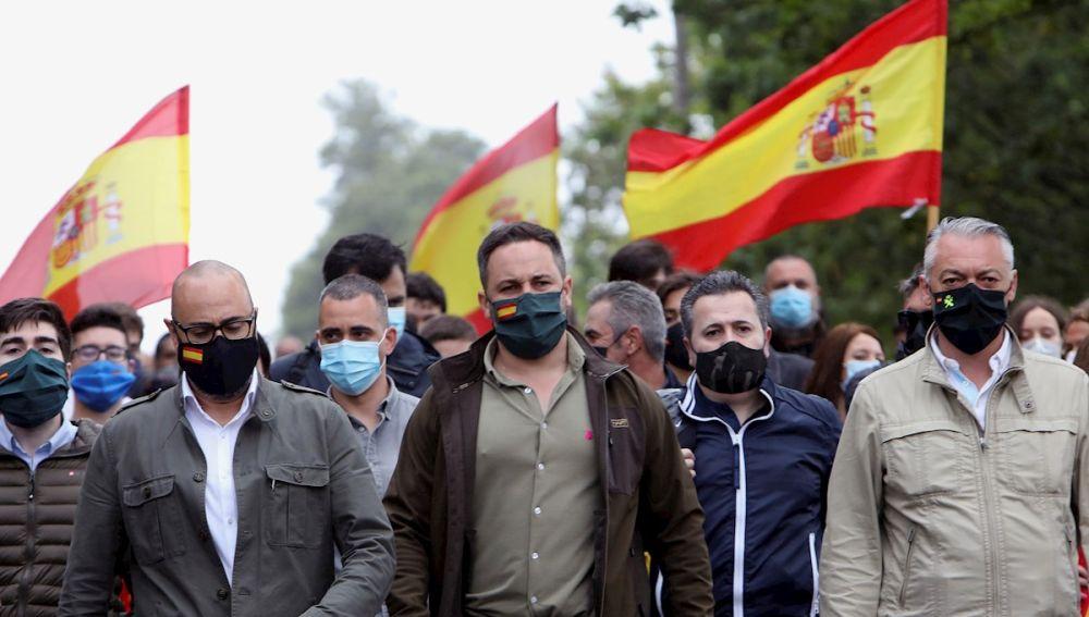 El líder de Vox, Santiago Abascal, en un acto del partido en Galicia