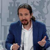 El vicepresidente segundo del Gobierno, Pablo Iglesias, en rueda de prensa