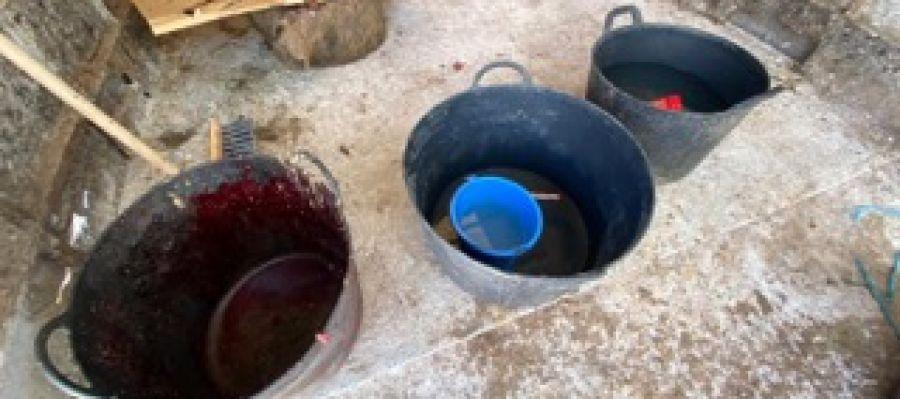 Barreños con sangre de animales sacrificados en el matadero clandestino.