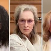 Audra McDonald, Meryl Streep y Christine Baranski, durante el homenaje virtual a Stephen Sondheim, en primavera de 2020