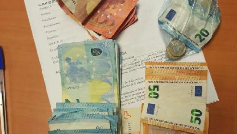 Dinero en efectivo incautado