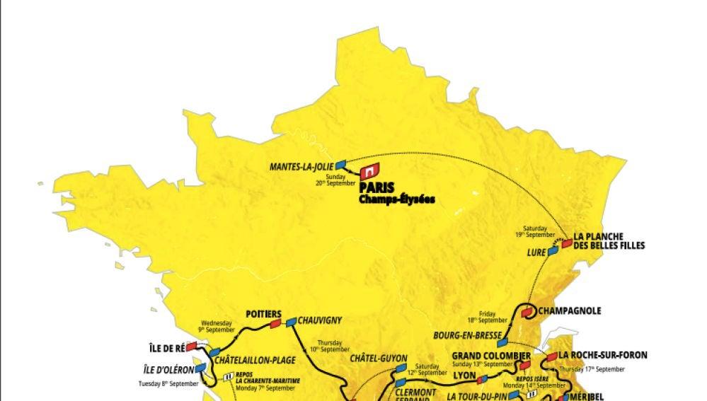 Recorrido Tour de Francia 2020