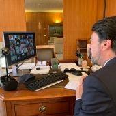Luis Barcala, alcalde de Alicante, en una sesión telemática