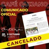 Café Quijano suspende su concierto en el Teatro Ortega