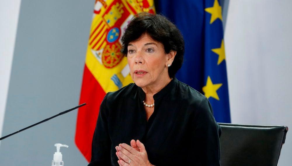 Isabel Celaá, ministra de Educación, en rueda de prensa