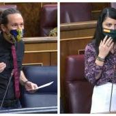 El vicepresidente segundo, Pablo Iglesias, y la diputada de Vox, Macarena Olona