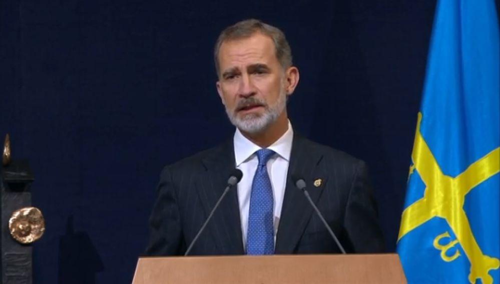 El Rey Felipe VI en su discurso en los Premios Princesa de Asturias 2020