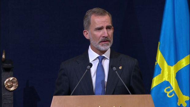 El rey Felipe VI, durante los Premios Princesa de Asturias 2020
